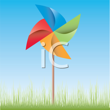 Royalty Free Clipart Image of a Pinwheel Outside