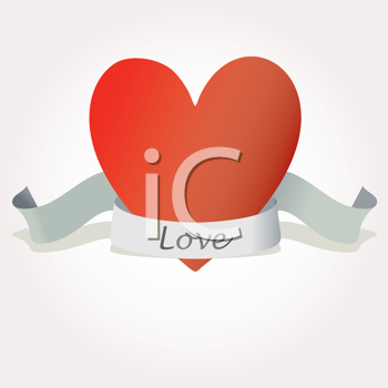 Royalty Free Clipart Image of a Heart With a Banner