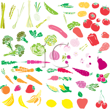 Royalty Free Clipart Image of Fruits and Vegetables