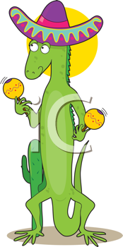 Royalty Free Clipart Image of an Iguana in a Sombrero Representing the Letter I