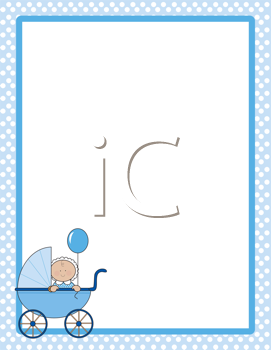 Royalty Free Clipart Image of a Polka Dot Border With a Baby Carriage