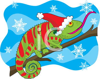 Royalty Free Clipart Image of a Chameleon in a Santa Hat On a Snowflake Background