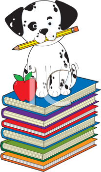 Royalty Free Clipart Image of a Dalmation on Books