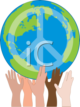 Royalty Free Clipart Image of a Globe With a Peace Sign Being Held By Hands of Different Ethnicity