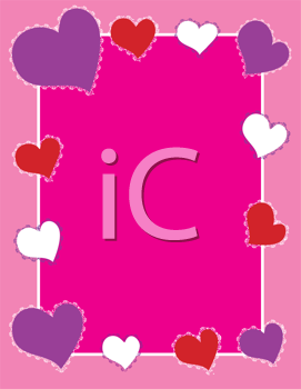 Royalty Free Clipart Image of a Frame of Hearts