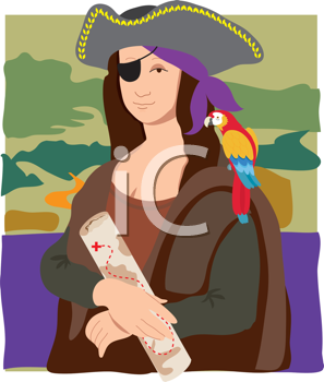 Royalty Free Clipart Image of a Pirate Mona Lisa