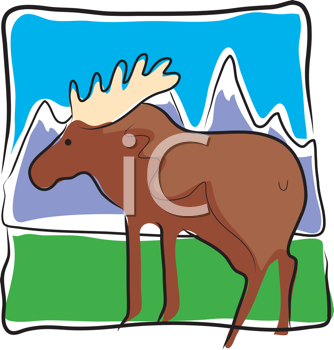 Royalty Free Clipart Image of a Moose on a Mountainous Landscape