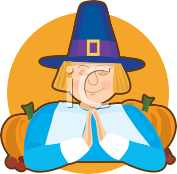 Royalty Free Clipart Image of a Praying Piilgrim With Pumpkins