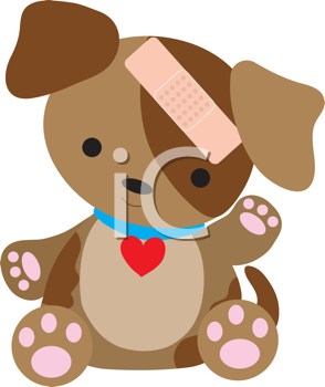 Royalty Free Clipart Image of a Dog With a Bandaid