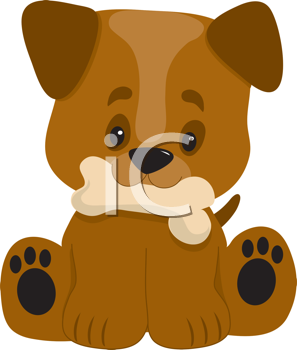 Royalty Free Clipart Image of a Puppy Holding a Bone