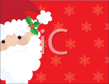 Royalty Free Clipart Image of a Santa Face on a Snowflake Background