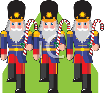 Royalty Free Clipart Image of Toy Soldiers Holding Candy Canes