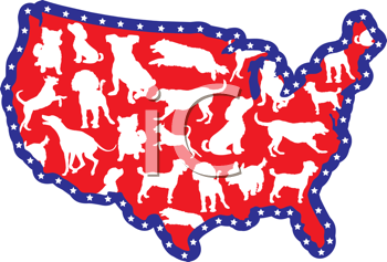 Royalty Free Clipart Image of a Map of the United States With Dog Breed Silhouettes