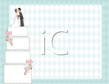 Royalty Free Clipart Image of a Background With a Wedding Cake at the Side