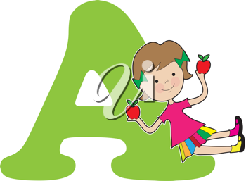 A young girl holding apples to stand for the letter A