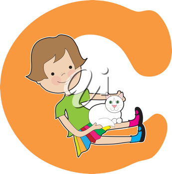A young girl holding a cat to stand for the letter C