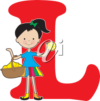 A young girl holding a basket of lemons to stand for the letter L
