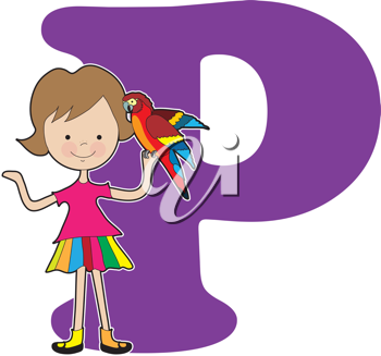 A young girl holding a parrot to stand for the letter A