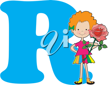 A young girl holding a rose to stand for the letter R