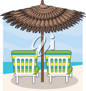 Royalty Free Clipart Image of Lawn Chairs Under a Beach Umbrella