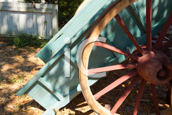 Royalty Free Photo of an Old Wagon Wheel