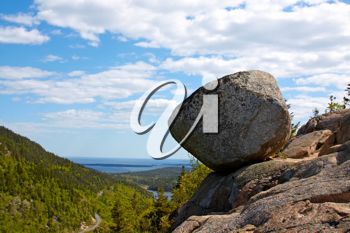 View of giant boulder in Acadia National Park, Atlantic Coast of Maine.