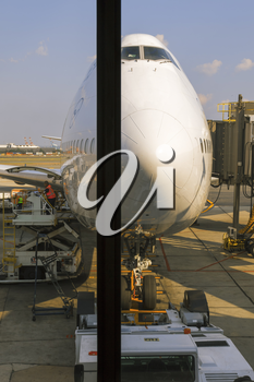 New York City, USA-May 28,2016: Lufthansa Airline plane is being prepared for take-off at the JFK airport terminal.
