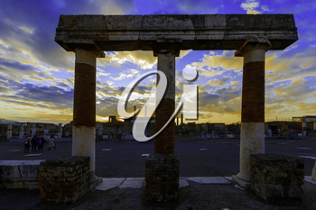 Sunset over ancient ruins of Pompeii