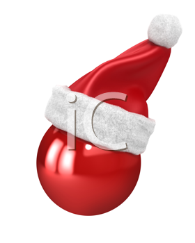 Royalty Free Clipart Image of a Ornament Wearing a Santa Hat