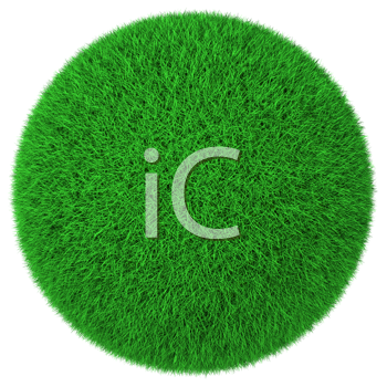 Royalty Free Clipart Image of a Green Grass Circle