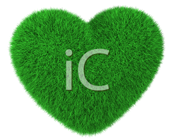 Royalty Free Clipart Image of a Grassy Heart