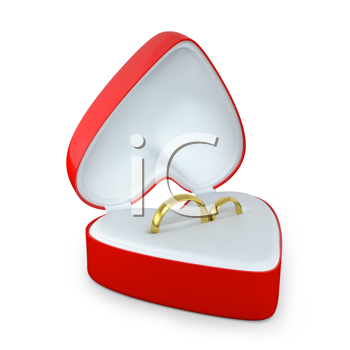 Royalty Free Clipart Image of Wedding Rings in a Heart-Shaped Box