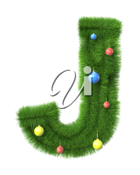 J letter made of christmas tree branches isolated on white background