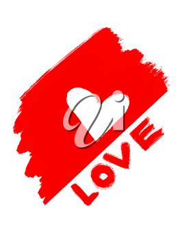 abstract love symbol and word Love on white background