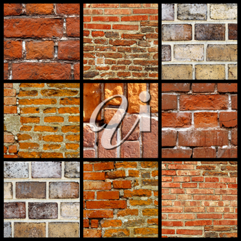 Collage of various brick walls
