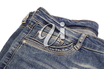 Fragment of dark blue jeans isolated on white background