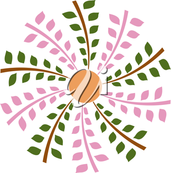 Royalty Free Clipart Image of a Leafy Flower Design