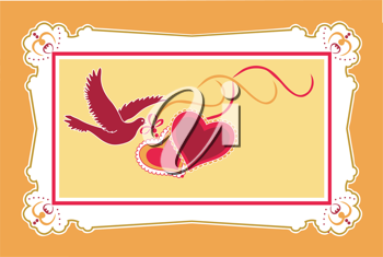 Royalty Free Clipart Image of a Bird and Two Hearts
