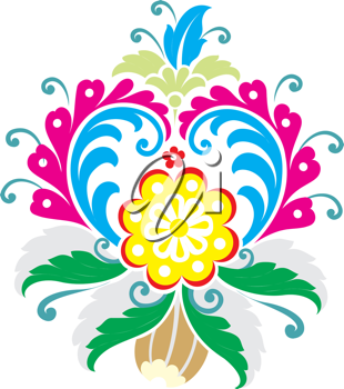 Royalty Free Clipart Image of a Flower Design