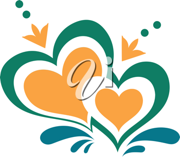 Royalty Free Clipart Image of Two Hearts