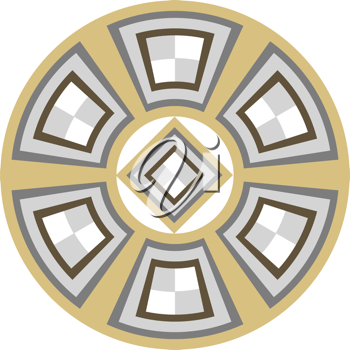 Royalty Free Clipart Image of a Wheels With Shapes Inside