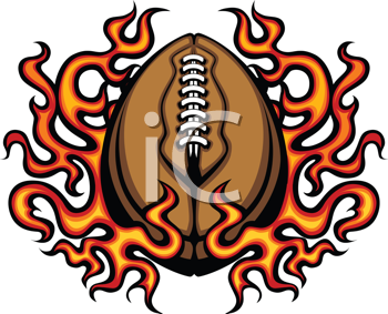 Royalty Free Clipart Image of a Blazing Football