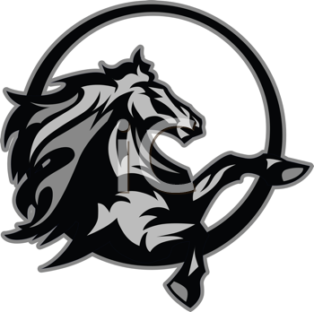 Royalty Free Clipart Image of a Horse Mascot