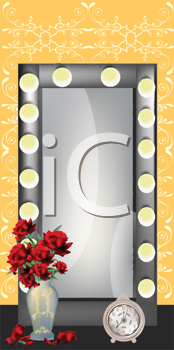 Royalty Free Clipart Image of a Mirror, Vase and Clock
