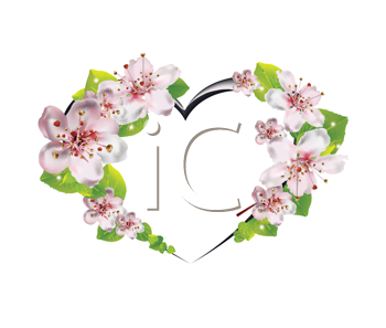 Royalty Free Clipart Image of a Cherry Blossom Heart