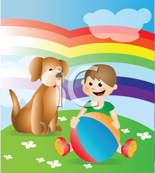 Royalty Free Clipart Image of a Kid Playing With a Dog