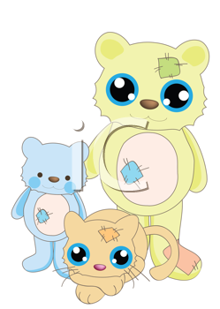 Royalty Free Clipart Image of Teddy Bears