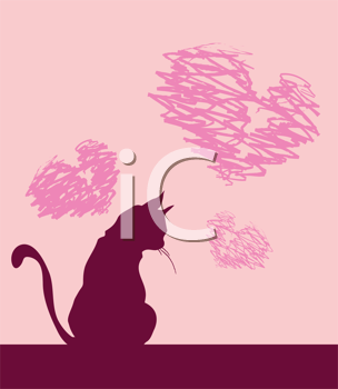Royalty Free Clipart Image of a Cat and Hearts