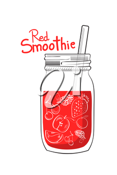 Illustration of hand drawn red smoothie jar isolated on white background