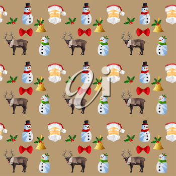 Seamless background pattern with origami christmas objects
